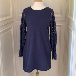 Kensie lace sweatshirt dress w/ pockets sz M